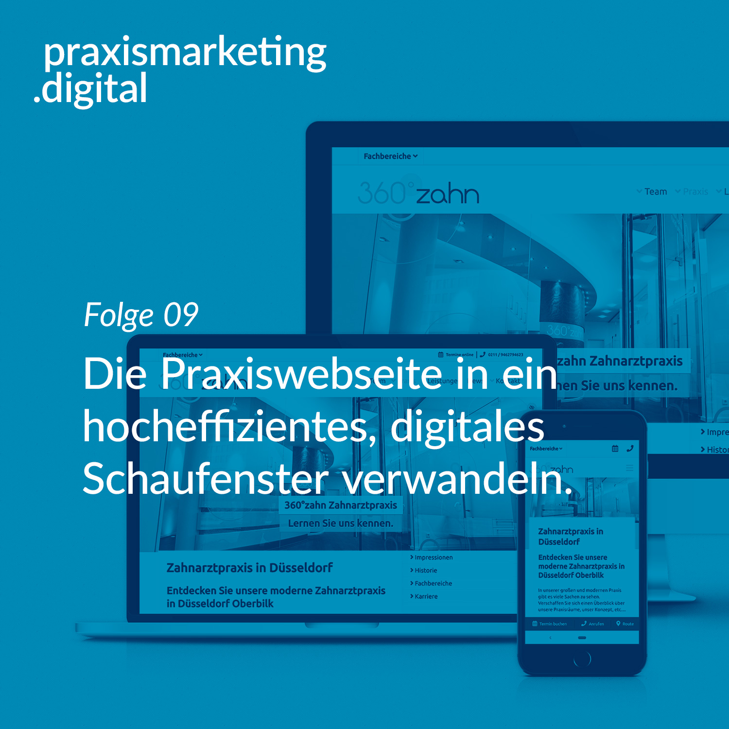 Podcastcover Folge 9 - Praxiswebseiten